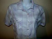 BIT AND BRIDLE WESTERN TOP  PURPLE PLAID LADIES MED  SNAP FRONT    FREE SHIPPING