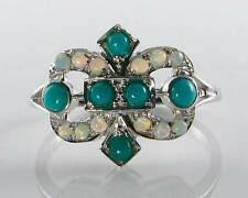DIVINE 9K 9CT WHITE GOLD PERSIAN TURQUOISE & OPAL ART DECO INS RING FREE RESIZE