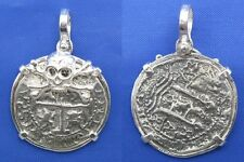 Sterling Silver Pirate Doubloon Cob Treasure Coin with Skull Bezel Pendant