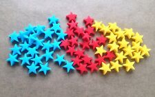 100 Edible Sugarpaste SUPERMAN STARS Cupcake Toppers-  Blue, Red & Yellow