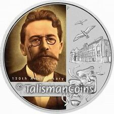 Tuvalu 2010 Great Russian Minds Author Anton Chekhov 150th $1 Pure Silver COA#10