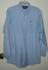 New Youth Boys Ralph Lauren Long Sleeve Solid Blue Button Down Shirt Size 20 XL