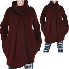WOLLE PONCHO STRICK JACKE BLAZER PULLOVER LAGENLOOK 44 L MANTEL ÜBERGANG ROT