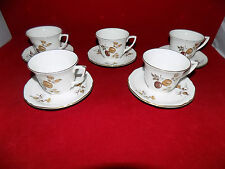 Royal Worcester GOLDEN HARVEST Small Tea Cups & Saucers x 5