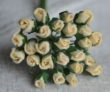 48 IVORY ROSE BUDS (S) Mulbery Paper Flowers wedding miniature