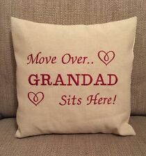Laura Ashley Natural Austen Fabric GRANDAD SITS HERE Cushion Cover Embroidered