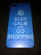GLOSSY PLASTIC BACK CASE COVER FOR APPLE iPHONE 5 5S - KEEP CALM & GO SHOPPING
