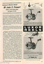 1957 ADVERT Luxor Fishing Reels Le Trappeur Inc No. 1 1-S #1 Spinning Reel