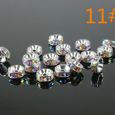 100Pcs Crystal Rhinestone Silver Rondelle Loose Spacer Bead Charm Finding Craft
