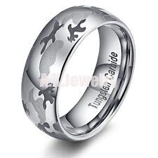 Mens Black 8mm Tungsten Carbide Ring Camo Design Fashion Jewelry SIZE 10