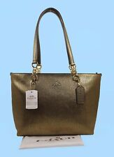 COACH 37117 Small Sophia Gold Tone Metallic Pebbled Leather Tote Bag Msrp$260.00