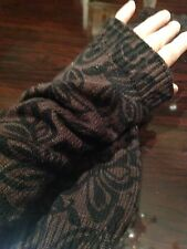 Vintage Gothic Brown Printed Black Knit Long  Glove Arm Warmers