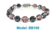 High power magnetic black hematite with purple crystal beads bracelet