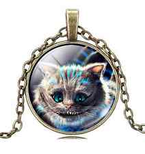 Vintage cute cat Cabochon Tibetan Bronze Glass Chain Pendant Necklace NEW   T2