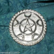 """Altar Tile Pentacle Crescent Moon NEW Silver plated 3"""" diameter leaf Wicca Pagan"""