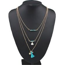 Bohemian Popular Crystal Rhinestone Blue Beads Tassel Three Layers Gold Necklace
