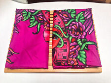 2 PLAYBOY Standard Shams Pillow Cover Slips Magenta Pink Purple Tattoo Auth RARE