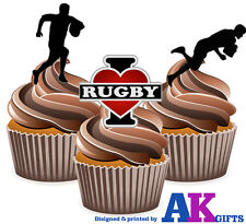 12 Edible Birthday Cup Cake Toppers -  I Love Rugby Silhouette Players Mix