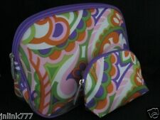New Clinique Cosmetic Case Set-Purple Trim-Orange