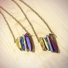 Blue Rainbow Crystal Stone Necklace- Vintage Gold Bohemian-Healing Quartz Boho