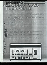 *Copy* Tandberg TCD 330 Cassette Deck Illustrated Parts List Manual