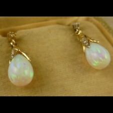 OPAL & DIAMOND EARRINGS - 9CT GOLD DROPPER OPAL EARRINGS