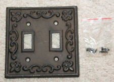 Heavy Cast Iron Light Switch Plate Cover antique finish ornate victorian rustic