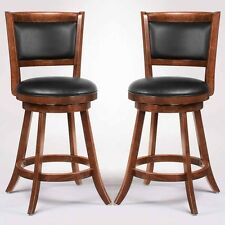 """Swivel Wood Dining Chairs 24""""H Bar Stool Set of 2 Espresso w/ Upholstered Seat"""