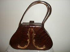 VINTAGE BROWN GENUINE ALLIGATOR LEATHER RARE ROSENFELD ORIGINAL HANDBAG PURSE