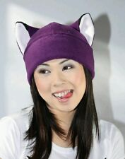 Purple fox Kitty cat fleece beanie toque hat cosplay anime manga goth ski rave