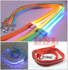 Yellow Strong Nylon Dog Pet Lead Leash Clip Collar Harness Led Safty Lighting UK