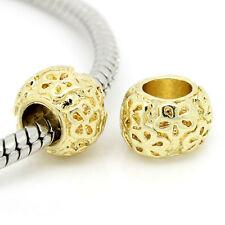 10PCs Gold Plated Spacer Beads Flower Carved Fit European Charm Bracelets