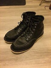 RED WING Heritage 8130 Black Chrome Moc Toe Leather Boots - Mens size 9 - USED