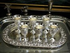 Vintage Silver Plate Set of 6 Mini Chalices Shot Glasses Tray Ornate Vodka