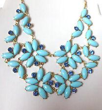 Halsschmuck Kette Halskette Collier  Perlen Strass  Blau-Goldfarben  Statement