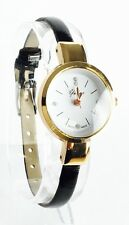 BRAND NEW Ladies Thin leather Strap Diamante Watch Uk Seller