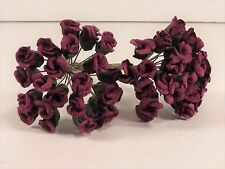 Burgundy Mini Rose Buds Parchment Wedding Bridal Scrapbook Crafts Millinery