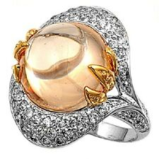 925 Sterling Silver Ring with Clear Cubic Zirconia and Crystall Ball Size 7
