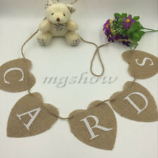 Vintage Wedding CARDS Bunting Banner Rustic Decor Burlap Hearts Hanging Sign