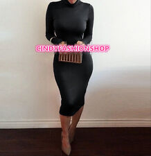 New Women Vintage Bandage Long Sleeve Turtleneck Party Body con Evening Dress
