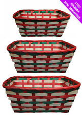 Set of 3 Traditional Christmas Stackable Wicker Baskets Picnic Laundry Hampers