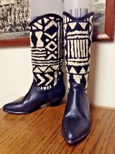 Seychelles Southwestern Tapestry Leather Indian Blanket Cowboy boots black 5.5 m