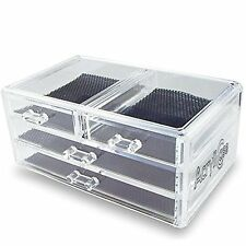 Clear Acrylic Makeup Cosmetic Jewelry Organizer Storage 4 Drawers Display Case