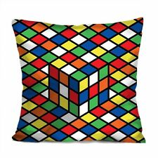 "RUBIKS CUBE Decorative Throw Pillow Case Cushion 18"" Zippered Cover #1"
