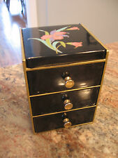OTAGIRI LACQUERED JEWELRY BOX BLACK ORCHID 3 DRAWERS MIRROR  HINGED LID