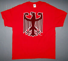 GERMAN EAGLE DEUTSCHLAND COAT OF ARMS RED VINTAGE T-SHIRT / SIZE XL