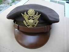 US Army Air Corp Officers Cap Hat WWII Lieutenant's Air Corp Card Inside owner