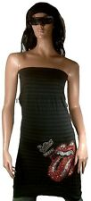 WoW AMPLIFIED ROLLING STONES Strass Zunge Rock Star Design ViP Kleid Top Shirt S