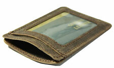 Slim Crazy brown real leather credit card oyster holder mini thin wallet ID case