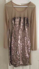 Gold Bronze Champagne Nude Bodycon Sequence Dress